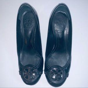 Tory Burch Block Heel Leather Black Size 6 US